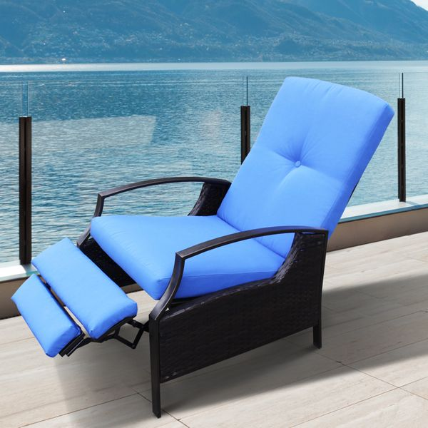Outsunny Outdoor Rattan Recliner Chair With Cushion - Dark Brown / Blue Armchair Durable Garden | Aosom Canada