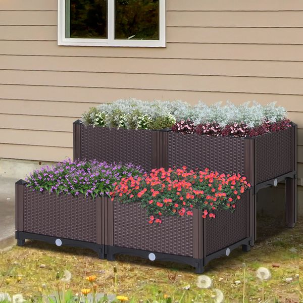 Outsunny 4-piece PP Raised Flower Bed Vegetable Herb Grow Box Stand Elevated Plastic | Aosom Canada