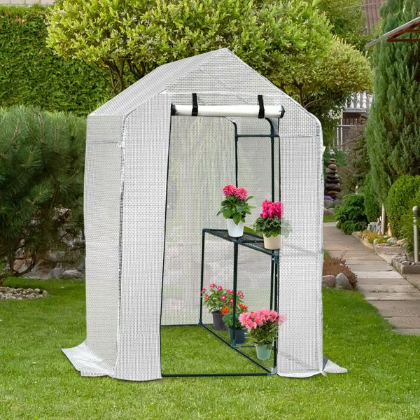 Outsunny Walk-in Plant Greenhouse Roll-up Door w/ 2 shelves