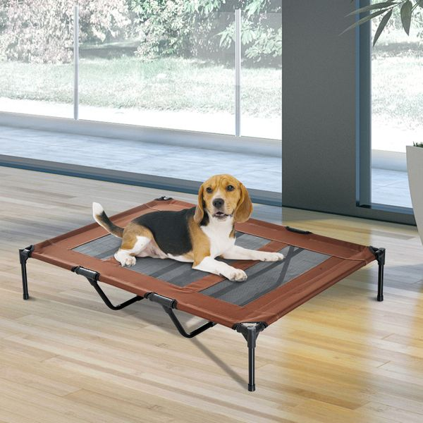 PawHut Elevated Breathable Dog Bed w/ Carry Bag Metal Frame Coffee|AOSOM.CA