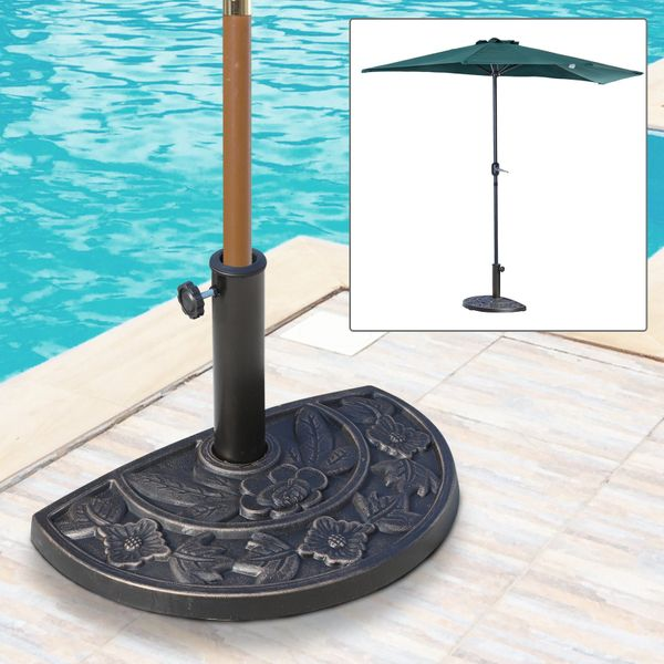 Outsunny Heavy-Duty Resin Parasol Umbrella Base Outdoor Garden Furniture Bronze|Aosom.ca