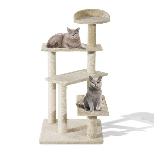 "PawHut 39""Scratching Cat Tree Scratcher Revolving Step Climbing Tower Condo Post Pets Furniture 5-Level Activity Center Scratcher Beige 