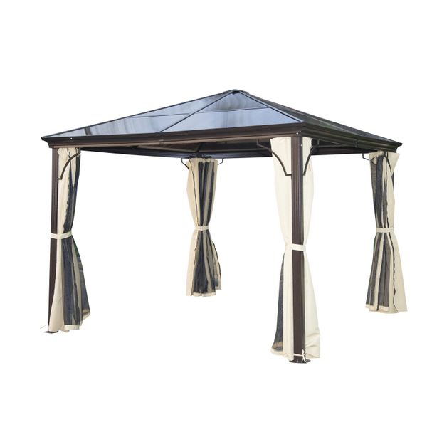 Outsunny 10 x 10 ft Deluxe Hard Top Waterproof Gazebo Canopy Heavy Duty Shelter with Curtains and Mosquito Netting|Aosom Canada