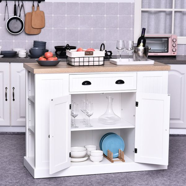 HOMCOM Kitchen Serving Island Home style with Drawer and Cabinet|Aosom Canada