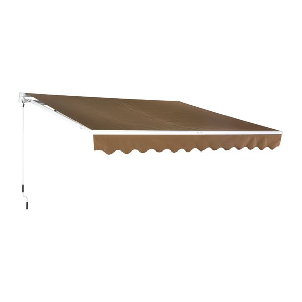 Outsunny 10'X8' Manual Retractable Patio Awning Coffee | Aosom Canada