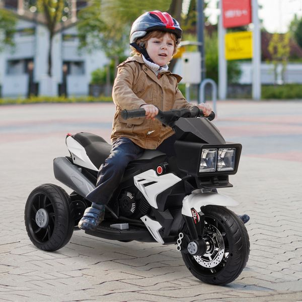 Aosom Kids Electric Pedal Motorcycle Ride-On Toy 6V Battery Powered for 3-8 Years Old White