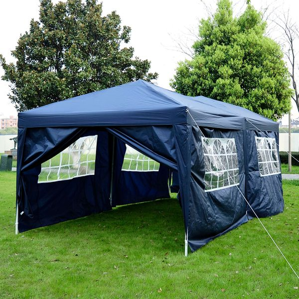 Outsunny 10x20ft Pop up Canopy Instant Party Tent Folding Portable Outdoor with 6 Sidewalls Blue|Aosom.ca