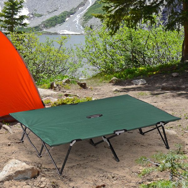 """Outsunny 76"""" Two Persons Double Cot Wide Folding Camping Cot With Bag Green W/ 