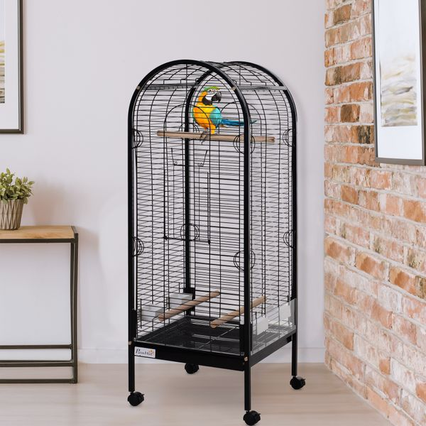 PawHut Metal Bird Parrot Cage With Rolling Standing 5ft w/ perches and bowls Black|Aosom Canada