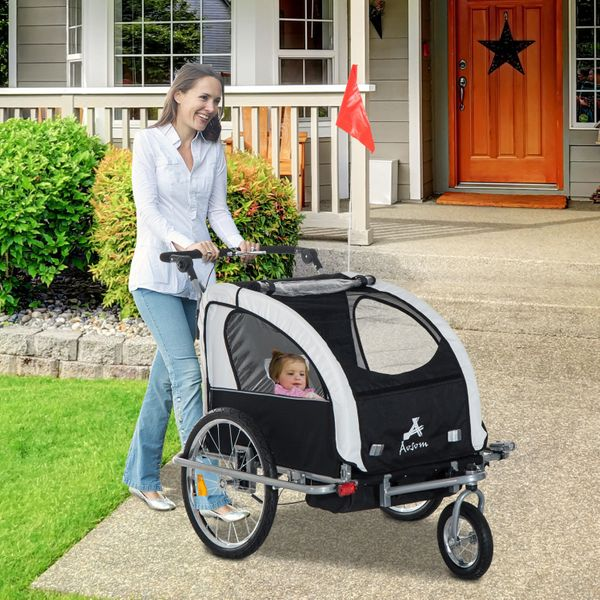 Aosom 2in1 Double Child Baby Bike Trailer and Stroller Folding Kids Jogger Bicycle- Black & White | Aosom Canada