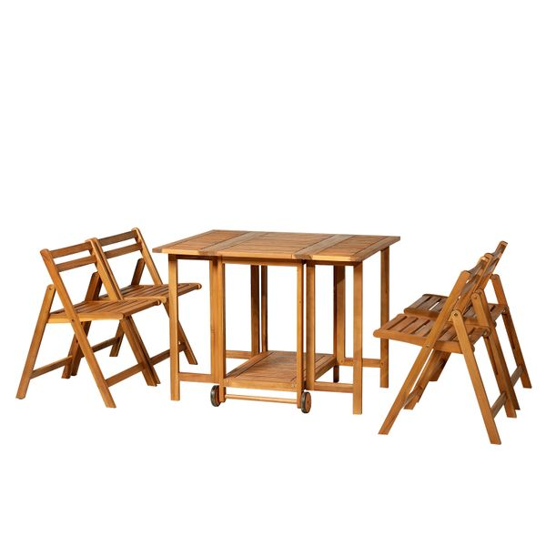 Outsunny 5pcs Acacia Wood Dining Set Expandable Table Compact Folding Chair|AOSOM.CA