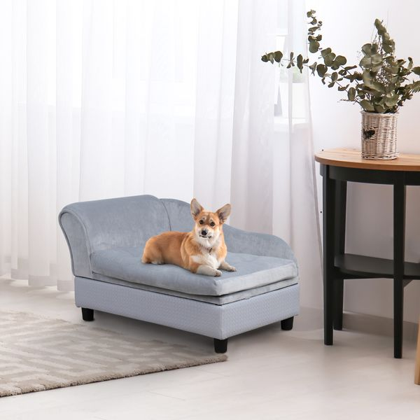 PawHut Pet Sofa Couch with Storage Function Sponge Cushioned Bed Lounge Dog Cat