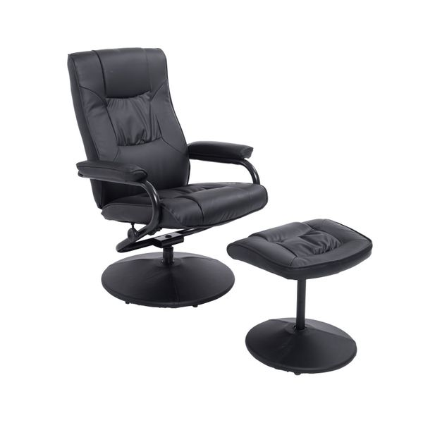 HOMCOM Swivel Recliner Chair with Ottoman Executive Armchair Lounge Leather Home Furniture Black | Aosom Canada