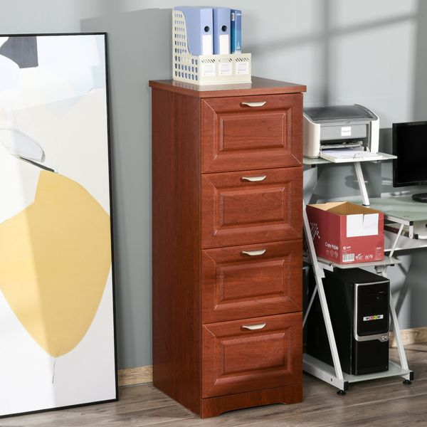 HOMCOM 4 Drawer Vertical File Cabinet Enclosed Storage Cabinet with File Hanging Coffee