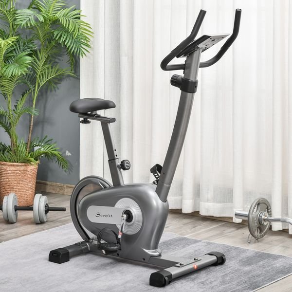 Soozier Indoor Magnetic Exercise Bike 10-Level Adjustable Magnetic Resistance Cardio Workout Cycling Bike Trainer, 16lbs Flywheel, LCD Display, and Adjustable Seat Height Grey Adjust Trainer | Aosom Canada