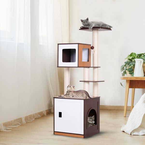 """PawHut Multi-Level Cat Tree Pet Tower Furniture With Scratching Posts And Cave 24.75"""" Large Perch & Condo