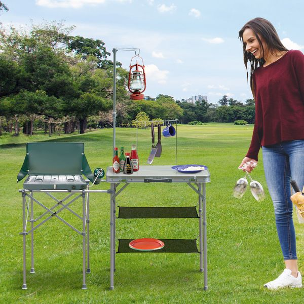 Outsunny Fold up Camp Kitchen Outdoor Cooking Table Portable Patio with Lantern Holder