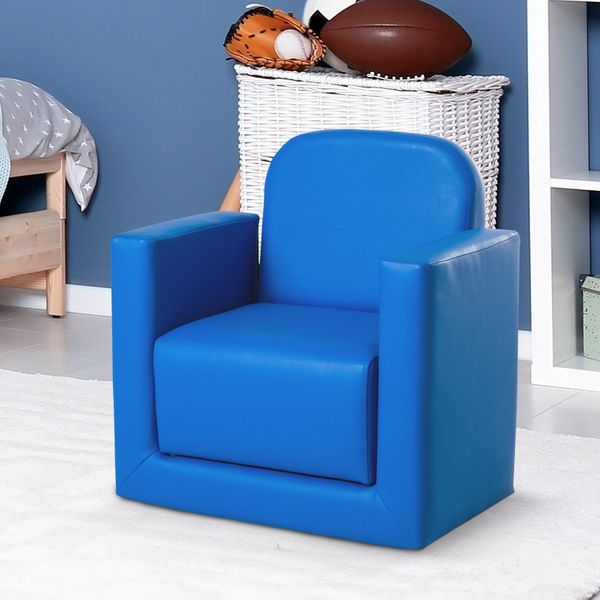 Qaba 2-in-1 Kids Table & Sofa Chair Set Activity Couch Blue|AOSOM.CA