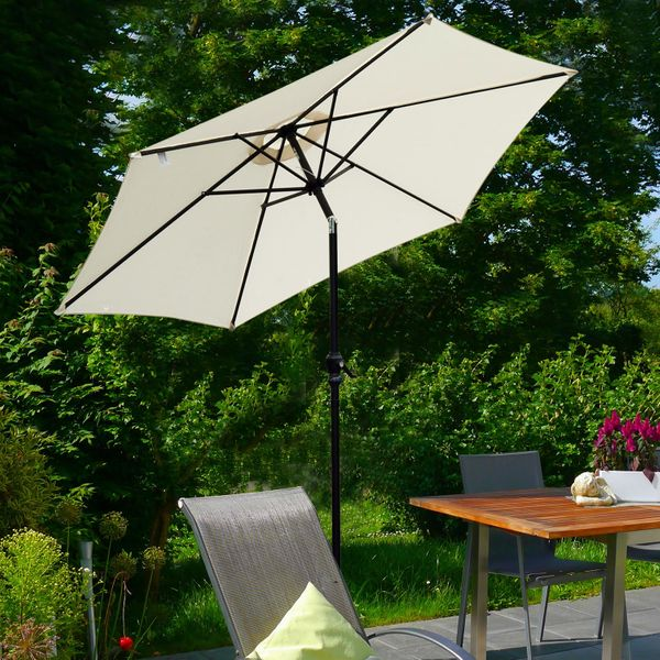 Outsunny 9' Patio Umbrella with Crank Handle Tilt Canopy Market Sunshade Round Aluminum 6 Ribs Garden Parasol Cream White | Aosom Canada
