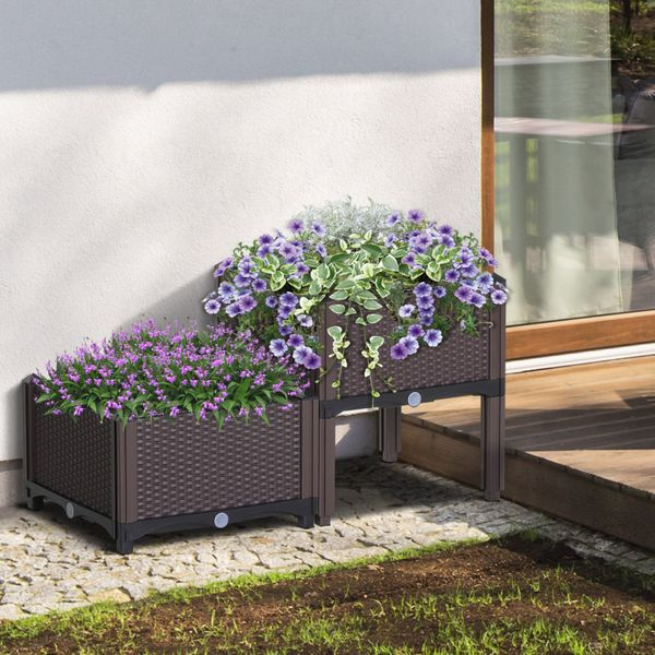 Outsunny 2-piece PP Raised Flower Bed Vegetable Herb Grow Box Stand Elevated Plastic | Aosom Canada