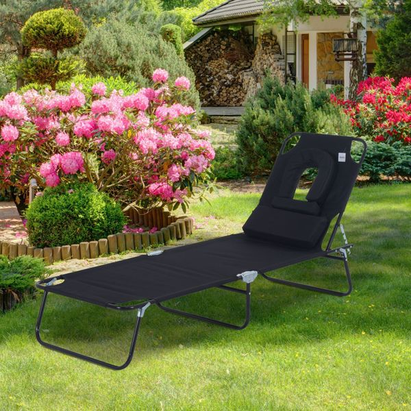 Outsunny Sun Lounger Foldable Recliner Seat Garden Lawn Seat Bed w/ Reading Hole | Aosom Canada
