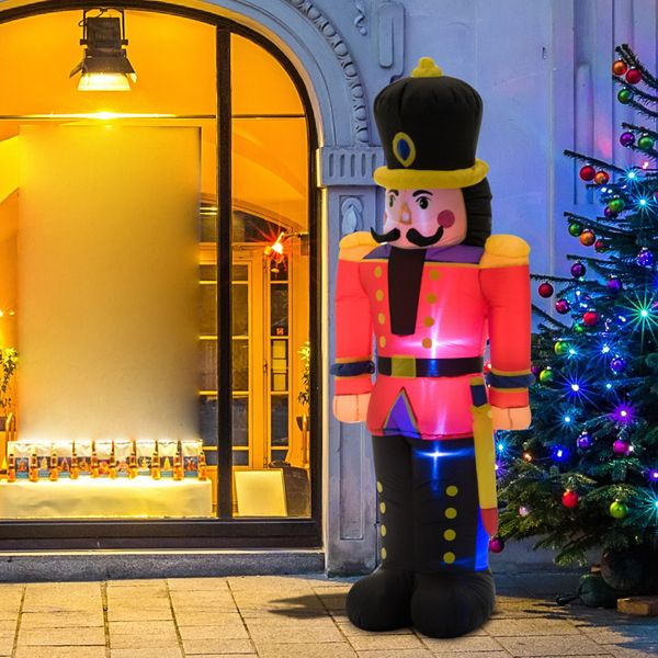 HOMCOM 6 Ft Tall Outdoor Lighted Airblown Inflatable Christmas Lawn Decoration - Nutcracker Toy Soldier|AOSOM.CA