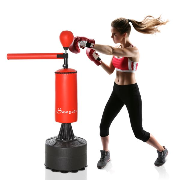 Soozier Freestanding Boxing Punch Bag Stand with Rotating Flexible Arm  Speed Ball  Waterable Base
