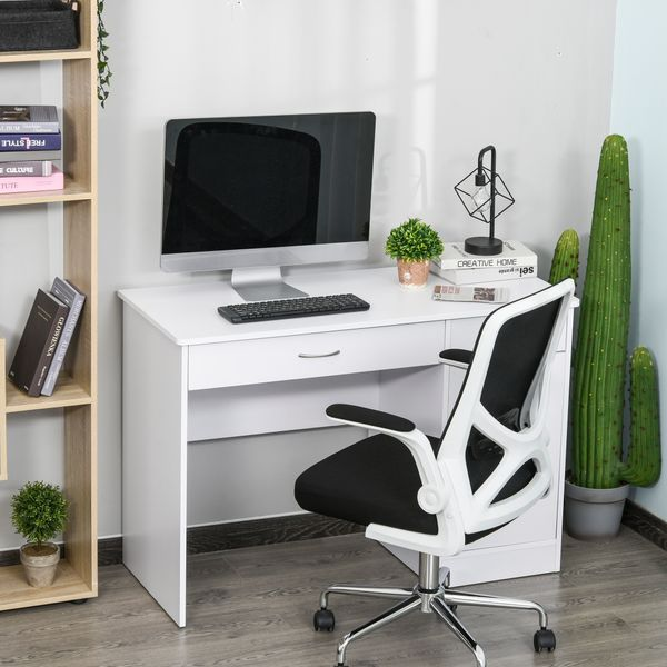 HOMCOM Stylish Computer Study Writing Desk Workstation Table with Two Drawers & Locker for Home Office & Study  White w/ | Aosom Canada