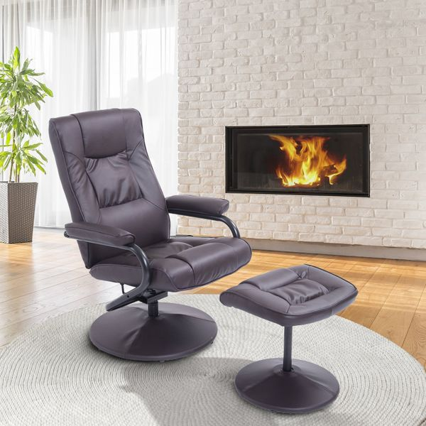 HOMCOM Contemporary Recliner Chair and Ottoman Set Swivel Armchair with Wrapped Base Brown | Aosom Canada