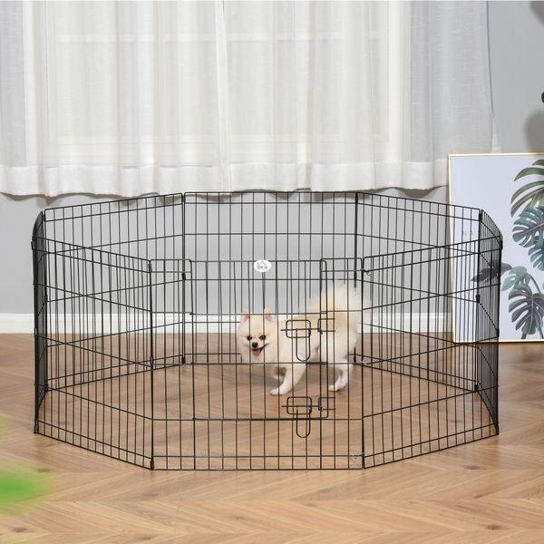 PawHut 24inch Foldable Metal Exercise Pet Playpen Yard Dog Puppy Kennel Cage 8 Panel