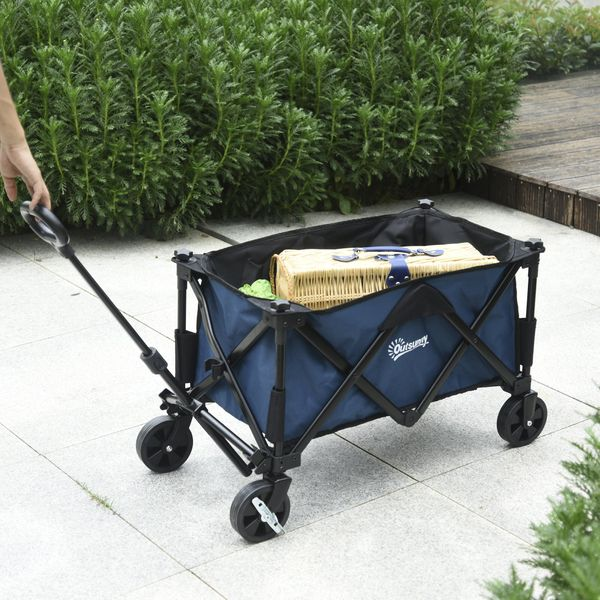 Outsunny Folding Wagon Garten Cart Collapsible Camping Trolley Steel Frame Oxford Fabric