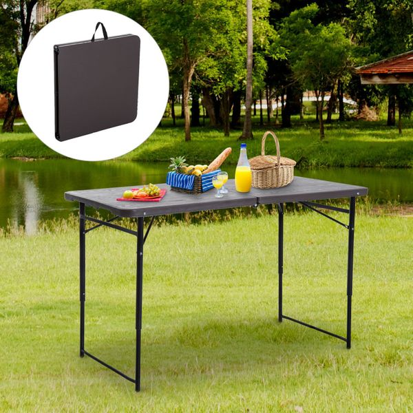 Outsunny 4ft Outdoor Folding Camping Table Height Adjustable Garden Backyards Black and Coffee