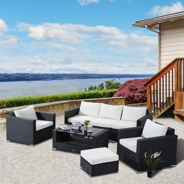 Outsunny 7Pc Wicker Rattan Set Outdoor Garden Patio Furniture Sofa Table Sectional with Cushion& Beige Black|Aosom Canada