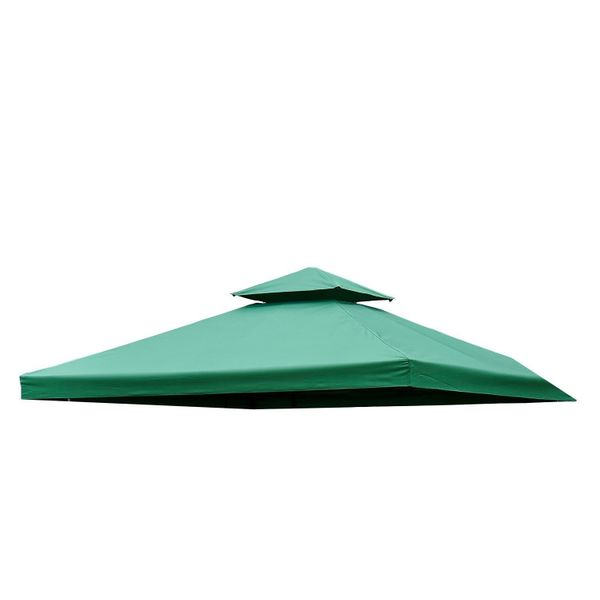 Outsunny Gazebo Canopy Replacement Covers 10x10 Square 2-Tier Canopy Water-resistant Waterproof UV Protected Cover Garden Sun Shade Green|Aosom Canada