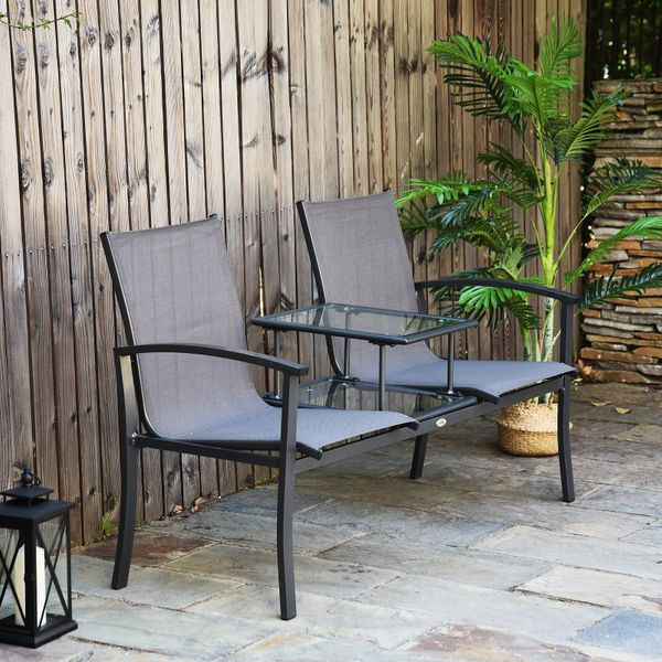 Outsunny Garden Patio 2 Person Bench Aluminum Mesh Fabric Seat w/Table Armrest|Aosom Canada