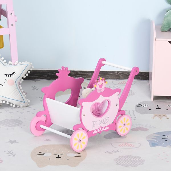 Qaba Baby Walker Baby First Steps Wagon Push Cart Toy Pretend Shopping Play Toys Grocery Cart for Toddler, Pink