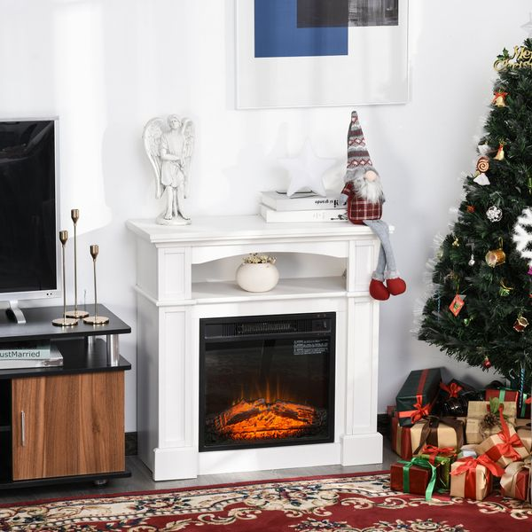 HOMCOM Freestanding Portable Full Flame Electric Fireplace Stove Heater with LED Flame Log Effect  White Modern Standing Corner | Aosom Canada