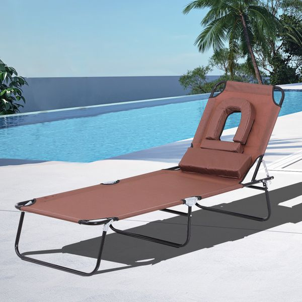Outsunny Sun Lounger Foldable Reclining Chair with Pillow and Reading Hole Garden Beach Outdoor Recliner Adjustable Relaxation - Camping |AOSOM.CA