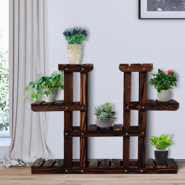 Outsunny Carbonized Wooden Tower Plant Stand Flower Rack Outdoor Garden Shelf