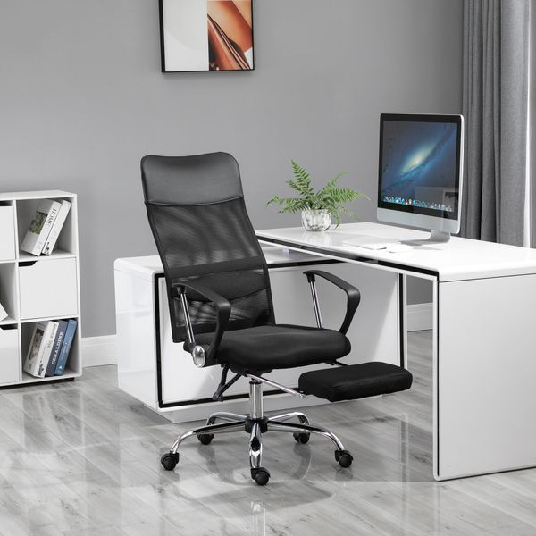 Vinsetto High Back Mesh Executive Office Chair Ergonomic Computer Desk Napping Seat Height Adjustable Swivel with Footrest and Lumbar Support & Armrest | Aosom Canada