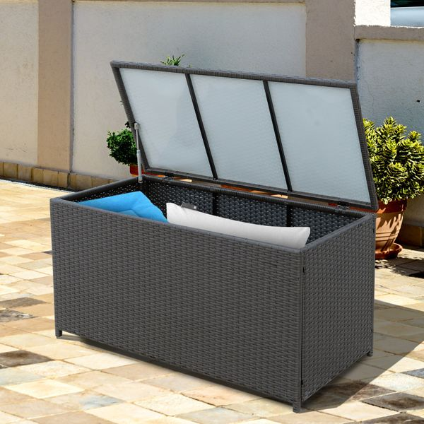 Outsunny Patio Rattan Wicker Storage Chest Box Wicker Basket with Lid 47x21x23inch Outdoor Garden Home Furniture Indoor Storing Unit Coffee |Aosom Canada