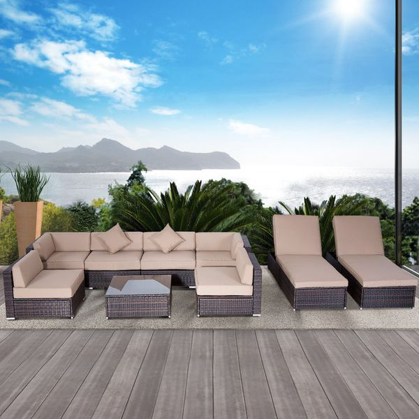 Outsunny 9pcs Delux Outdoor Indoor Wicker Rattan Sofa Set Patio Furniture Garden Sectional Lounge Coffee Cushined Seat Bed Table Aosom Canada