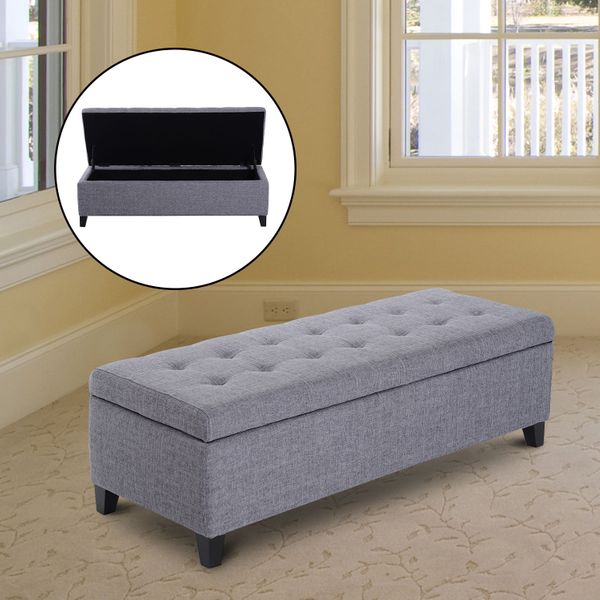 "HOMCOM Large 51"" Tufted Linen Fabric Ottoman Storage Bench Wood Feet Modern Large Plush Upholstered Entry