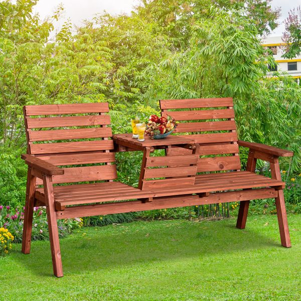 Outsunny 3-Seater Garden Bench Wooden Porch Chair Outdoor Love Seat w/ Convertible Middle Seat Yard Bench Seat with Tea Table Fir Wood