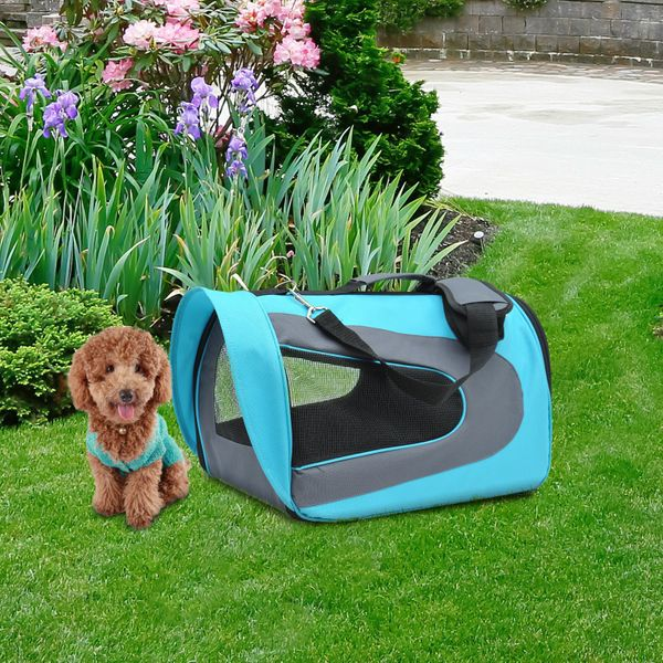 PawHut Airline Travel Carrier Pet Dog Cat Bag Mesh Crate Tote Transport Foldable