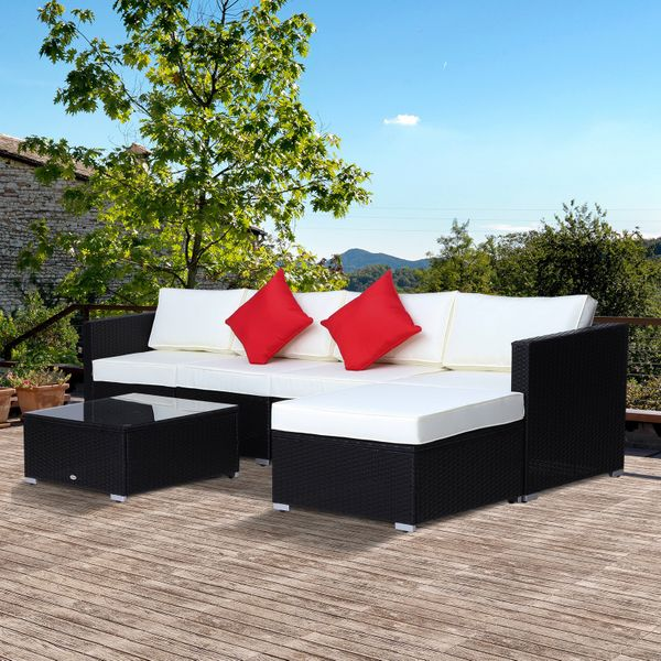 Outsunny 6 Piece Outdoor Patio PE Rattan Wicker Sectional Sofa Deluxe Furniture Set 6pcs | Aosom Canada
