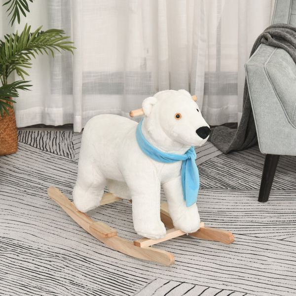 Qaba Kids Ride On Rocking Horse with Realistic Sound Traditional Toy Gift for Children 18-36 Months Rocking Toy for Toddler White | Aosom Canada