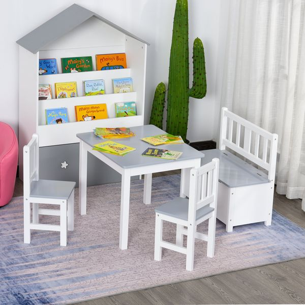 Qaba 4-Piece Set Kids Wood Table Chair Bench with Storage Function Easy to Clean Gift for Girls Boys Toddlers Age 3 Years up Grey and White w/ Years+ | Aosom Canada