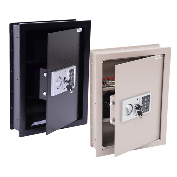 HOMCOM Flat Superior Electronic Hidden Wall Safe Box for Jewelry or Valuables Digital Lock Home Office Hotel Security|Aosom Canada