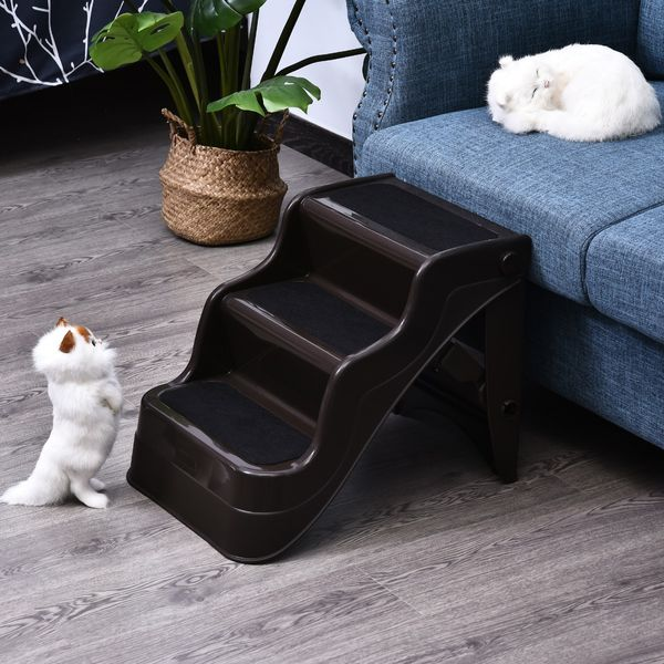 PawHut Pet Stairs Dogs and Cats Folding Ladder Puppy Portable 3 Steps Home Travel Using Brown | Aosom Canada